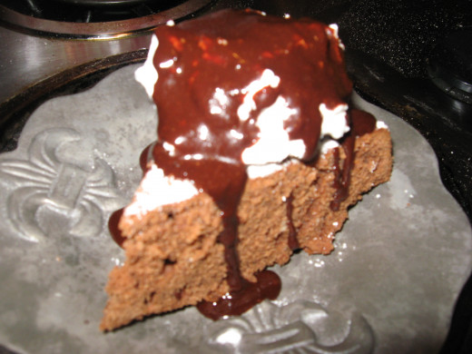 Chocolate Pound Cake with ice cream and chocolate syrup