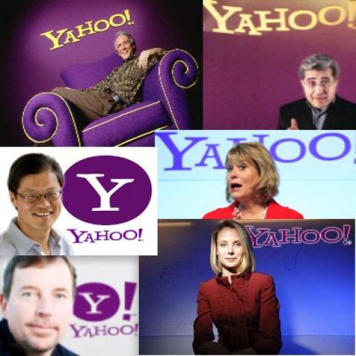 CEOs of Yahoo! 1st Row: Timothy Koogle, Terry Semel 2nd Row: Jerry Yang, Carol Bartz 3rd Row: Scott Thompson, Marissa Mayer
