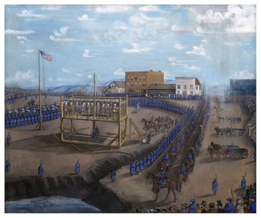 Execution of 38 Dakota Indians in, Mankato, Minnesota in 1862, per Lincoln's decision.