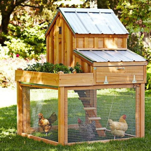 This is a great example of a years round habitat for chickens and other animals and birds that do not require extra heat in the cold months.  Some only require the addition of an infrared lamp to warm the indoor  area  especially during the night.