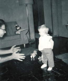 Awwww, me..learning to walk... not sure if these were the ortho shoes, they could have been!