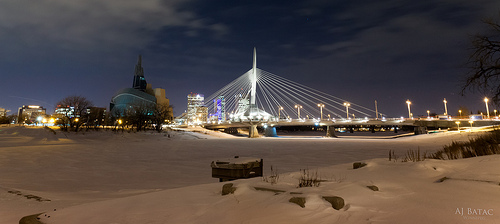 Esplanade Riel at night in winter.