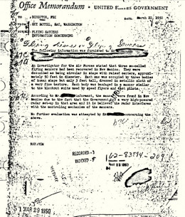 The government memo regarding the Roswell incident.