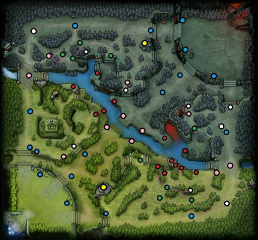 place the wards at any of the red dots (one at top and one at bottom) for a rune ward
