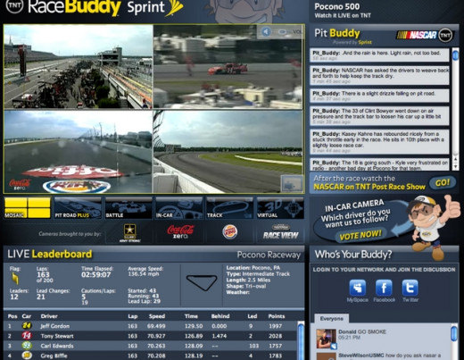 TNT pushed its Racebuddy application, which made watching a far more interactive experience