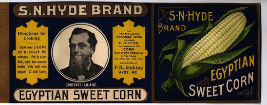 This is an image from a paper label for a can of S N Hyde Egyptian Sweet Corn. This can label was printed prior to 1900 and is in public domain due to its age. This can label was found under the front porch of the house that belonged to the F B Jenki