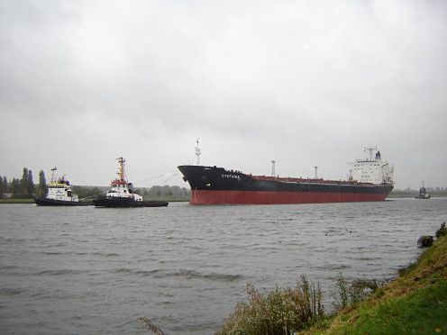 The ship Stefania, and tugs, on the Ghent-Terneuzen Canal at Sas-van-Gent.