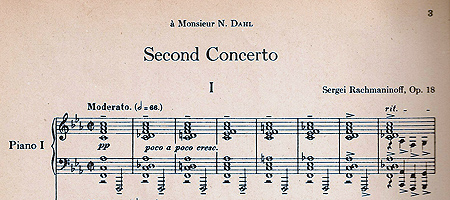 First bars of concerto with dedication to Nikolai Dahl, his therapist.