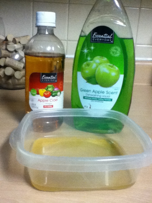 Supplies to make a vinegar fly trap at home.