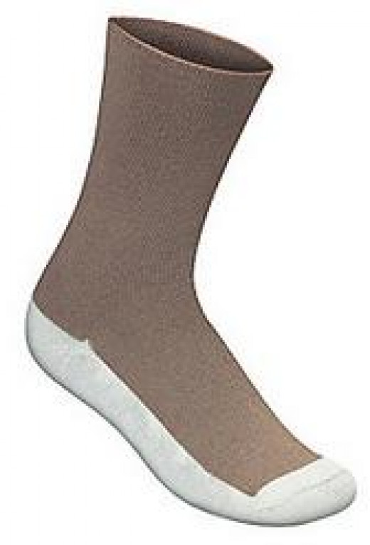Diabetic Socks with white soles in to determine if there are open sores or blisters on the foot.