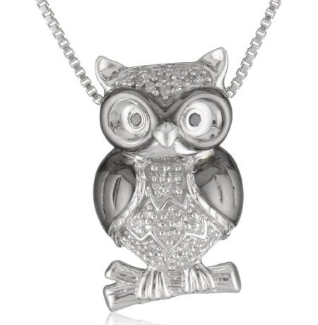 XPY sterling silver diamond owl pendant necklace