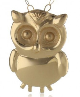 Duragold Yellow gold owl pendant necklace