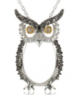 Two-tone gold, white and champagne diamond owl pendant necklace