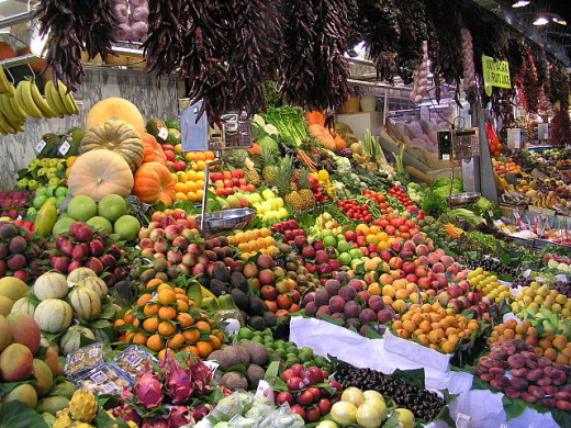 Fruits on display at a market in Barcelona.