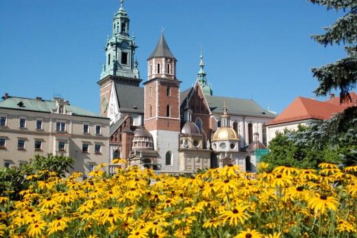 Wawel Castle and gardens, Krakow, Poland