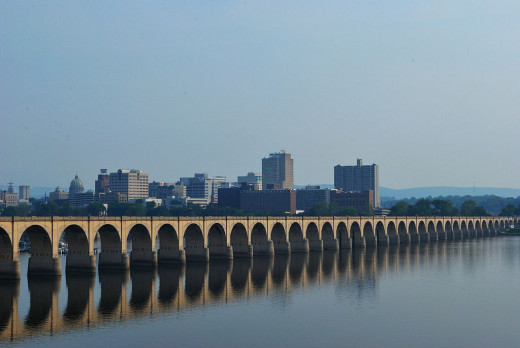 A view of Harrisburg from across the Susquehana River
