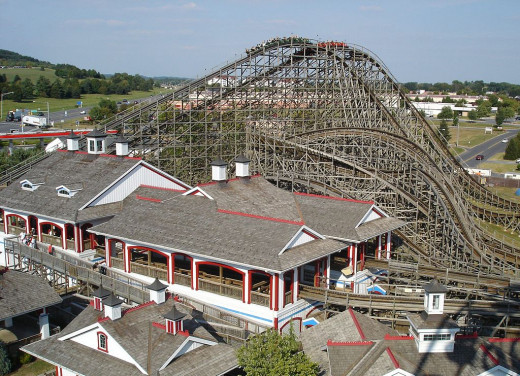 A roller coaster at Hershey Park, PA