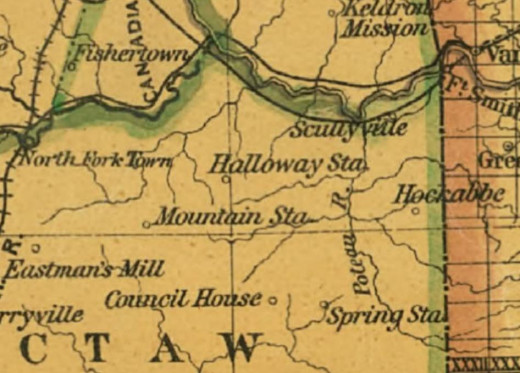 Indian Territory Map showing Heckabbe's Station