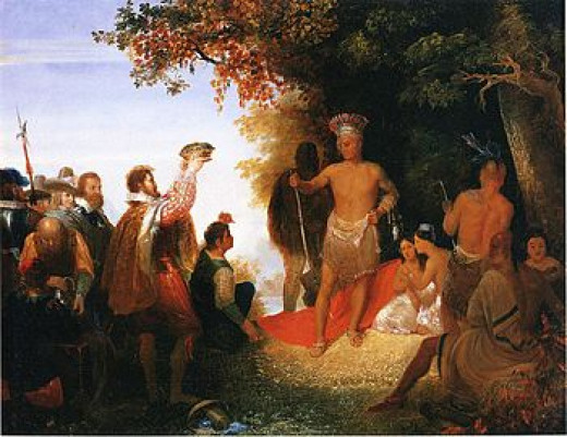 The Coronation of Powhatan, oil on canvas, John Gadsby Chapman, 1835