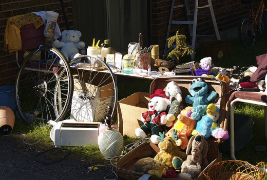 Jumbled tables are a common yard sale sight, so be sure to look carefully.