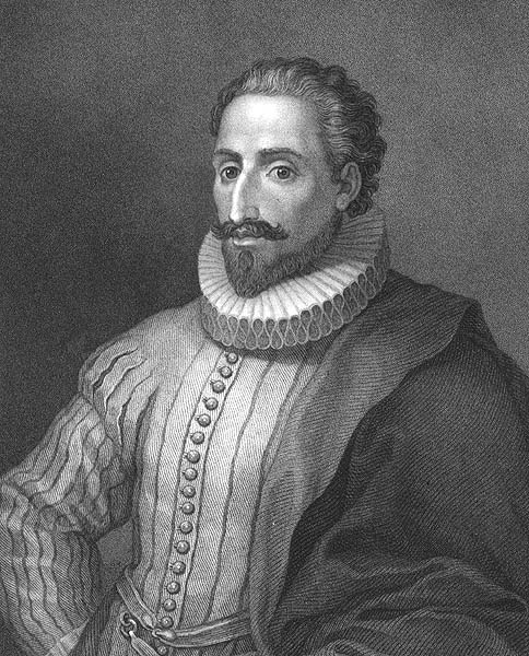 NOTICE HOW CERVANTES' LEFT ARM IS COVERED.