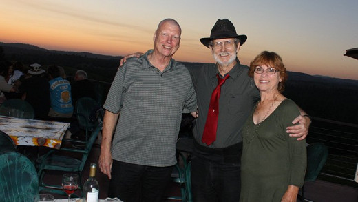 John Covert, Crystal Image with Gary and me at one of his gigs in the Placerville area.  John is my music man who makes my music trax.