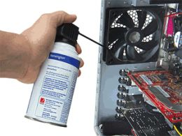 using compressed air can to get rid of the dust on a fan