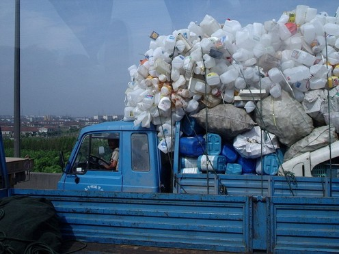 A truck laden with waste plastic products in Shanghai.