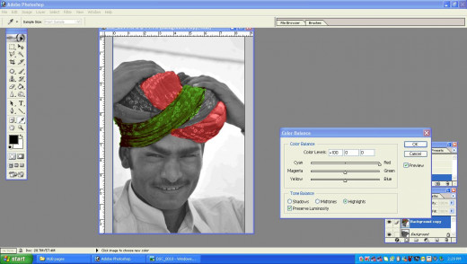 Arrive at the required color in the turban