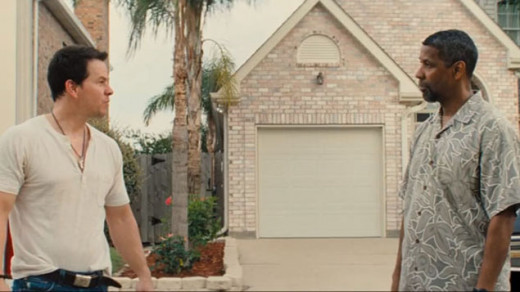 Mark Wahlber plays a Naval Intelligence officer and Denzel Washington is a DEA investigator in the action thriller 2 Guns