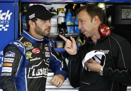 Chad and Jimmie discussing race strategy in the garage.