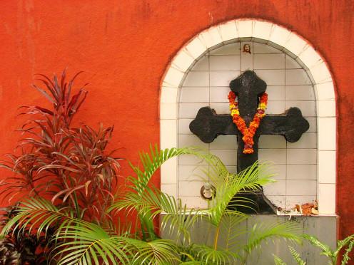 Alcove with Crucifix in Portuguese Colonial Church, Panaji (Panjim), Goa,