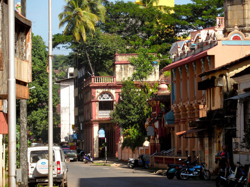 Street setting with typical Portuguese colonial buildings; Panaji, Goa, India