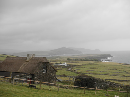 View from the top of the hill looking down on the Famine Cottage and the beautiful landscape.