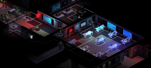 The shadowrunners need to sieve through the information on the three desks to unlock the door ahead. Then sneak past the heavy turrets and move right to the next room.