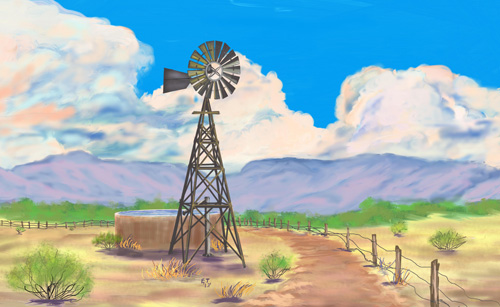 """Southwest Windmill"" Here is a digital painting with a thunderhead that I did in Sketchbook Pro 6."