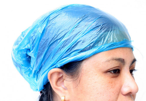 A baggy works well for a temporary shower cap.