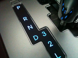 An automatic gear of a Hyundai elantra. This is the American style gear shift.