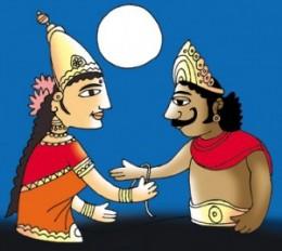 Lakshmi Tying Rakhi to Bali to get her Husband, Vishnu, back.