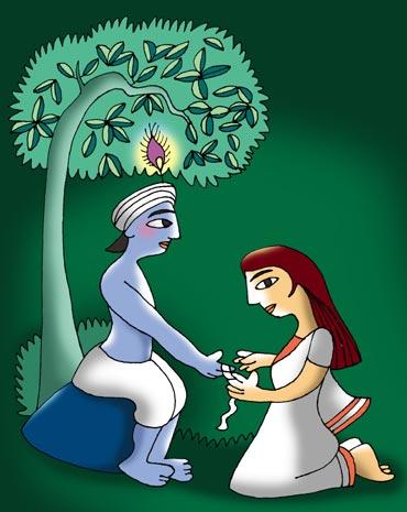 Draupadi tying Rksha Bandhan on Krishna's Wrist