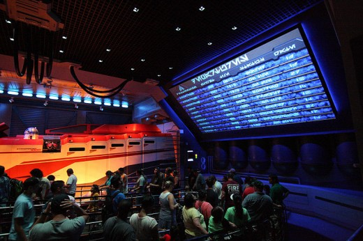 Inside the line cue for Star Tours at Hollywood Studios.