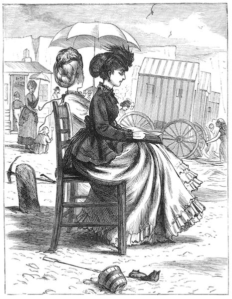 The strict rules of Victorian etiquette were demonstrated clearly when females visited the beach. There were no such things as bathing suits, women had to wear long sleeves and a high neck blouse.