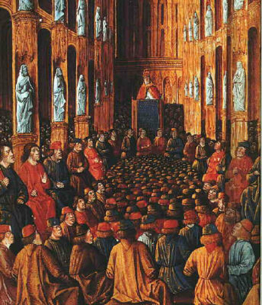 A 15th Century painting of Pope Urban II at the Council of Clermont, where he called for the First Crusade.