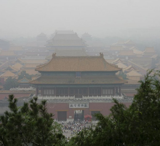 The Forbidden City seen through the smog