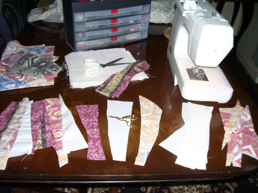 Creating the stripes for patchwork kitties!