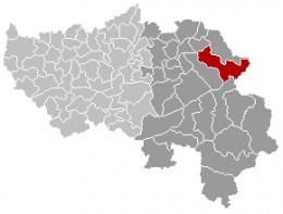 Map location of Eupen municipality, Liège province, Belgium