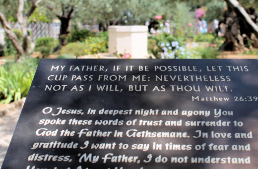 A plaque in the Garden of Olives, Jerusalem, Israel