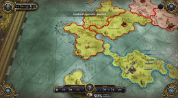 The dragon commander starts with a capital in Orcha. Try to create a landlocked Orcha to prevent land attack on the capital. Note that the button on the right ends each turn.
