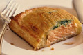 Seafood Wellington--fresh salmon and sweet shrimp in a rich robe of puff pastry