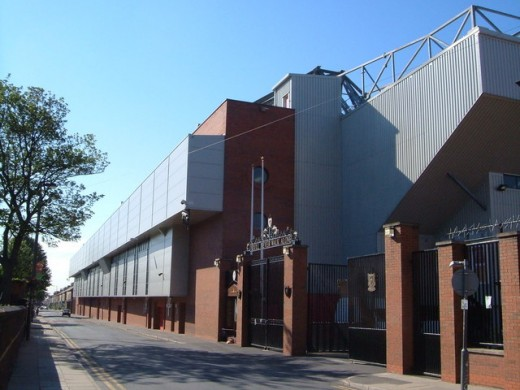 Liverpool FC, Anfield Road, featuring the Shankley Gates and Hillsborough Memorial